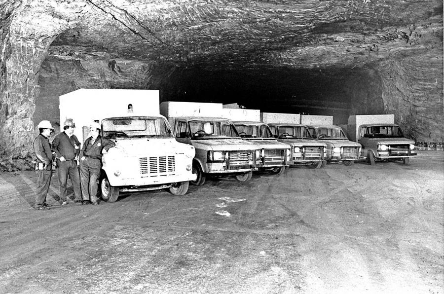 Ford Transit in salt mine