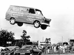 Ford Transit leaping over cars